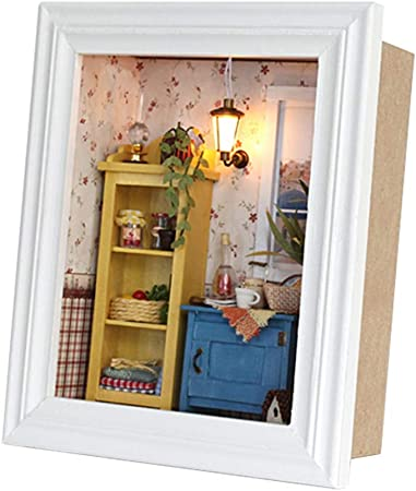 Diy Dollhouse Photo Frame Design Warm House Kit With Furniture Birthday Gifts Home Decoration Gift Choice Amazon Co Uk Kitchen Home