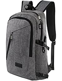 Business Water Resistant Polyester Laptop Backpack with USB Charging Port and Lock Fits Under 17-Inch Laptop and Notebook, Grey