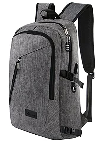 Mancro Business Water Resistant Polyester Laptop Backpack with USB Charging Port and Lock Fits Under 17-Inch Laptop and Notebook, - Notebook Computer Lock
