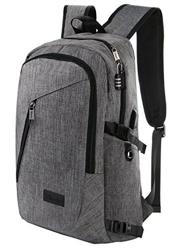 Business Laptop Backpack, Slim Anti Theft Computer Bag, Water-resistent College School Backpack, Eco-friendly Travel Shoulder Bag w/ USB Charging Port Fits UNDER 17' Laptop & Notebook by Mancro (Grey)