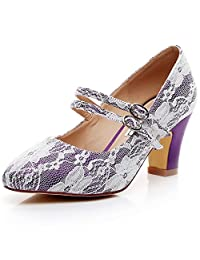 LUXVEER Mary Jane Shoes Thick Heels Lace Wedding Shoes- Low Heel 2.5 inch-RS-2063