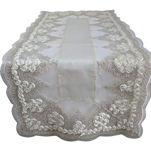 Doily Boutique Table Runner with Antique White Ribbon Wedding Rose, Size 34 x 15 inches