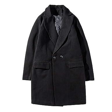 075d9fa9021ef3 ALIKEEY Herren Parka Herbst Winter Jacke warme Winter Graben Lange Outwear  Button Smart Mantel Filz: Amazon.de: Bekleidung