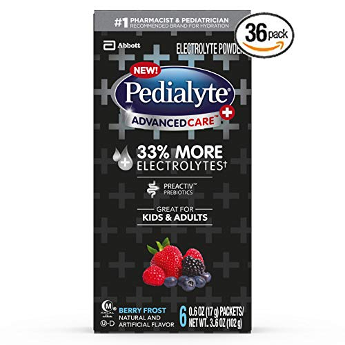 Pedialyte AdvancedCare Plus Electrolyte Powder, with 33% More Electrolytes and PreActiv Prebiotics, Berry Frost, Electrolyte Drink Powder Packets, 0.6 oz (Pack of 36) - Set of 4