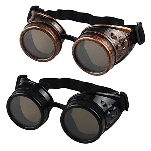 Buytra Vintage Steampunk Goggles 2 Pack, Victorian Retro Steampunk Goggle Cyberpunk Goggles for Women, Men, Kids ()