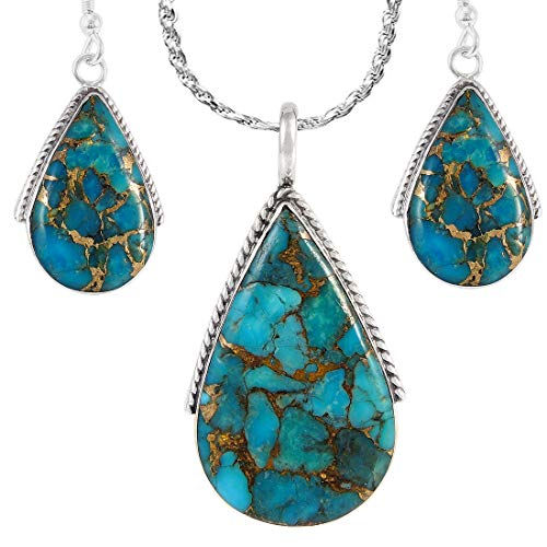 Matching Turquoise Set (Pendant, Earrings, Rope Chain) in solid 925 Sterling Silver (Matrix)