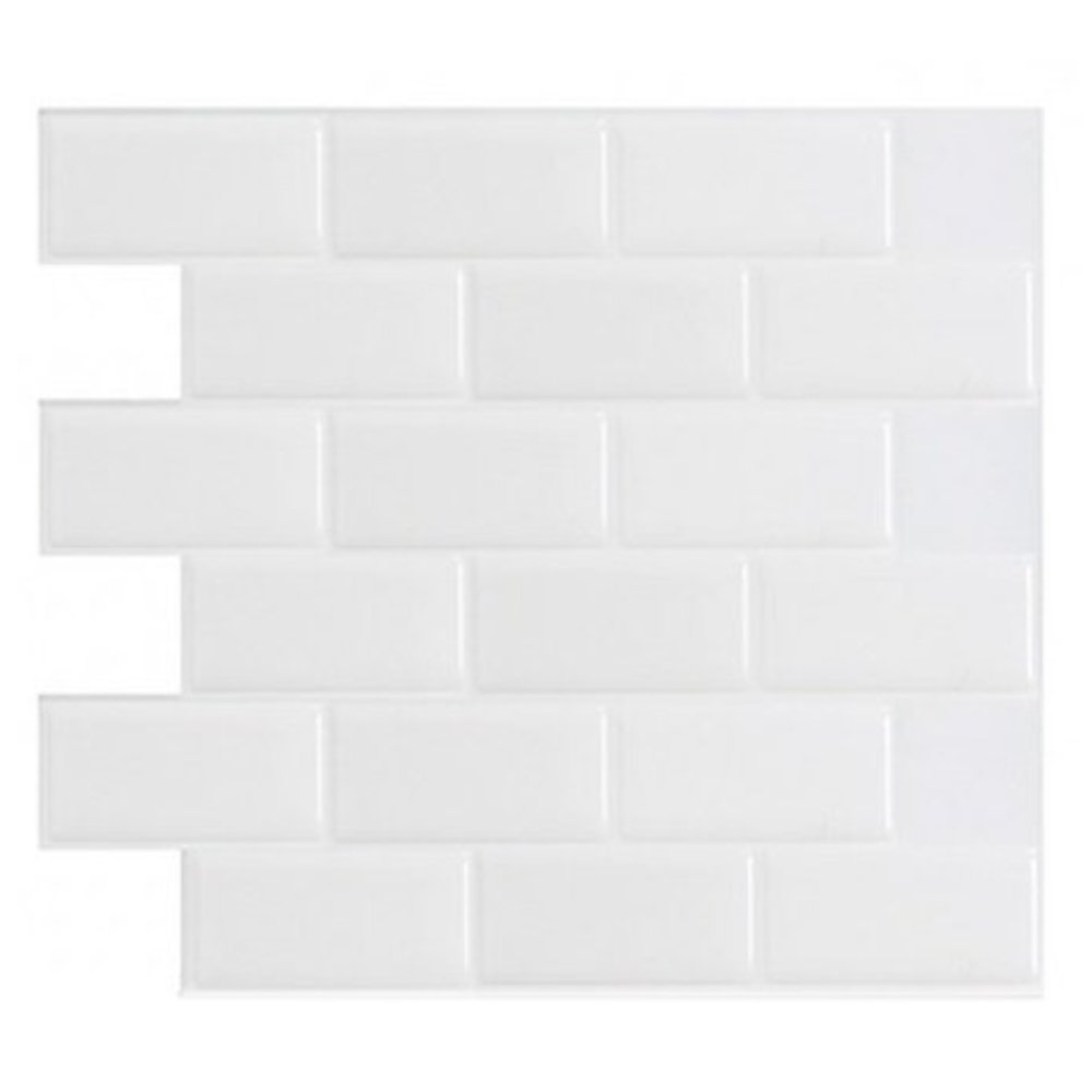 Art3d 12'' x 12'' Peel and Stick Tile for Kitchen Backsplash, White Subway Backsplash Tile (10 Sheets)