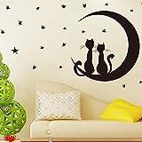 ufengke® Belle Gatti Luna Stelle Adesivi Murali, Camera dei Bambini Vivai Adesivi da Parete Removibili/Stickers Murali/Decorazione Murale