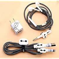 Rapidotzz 6-in-1 Multi Combo Spiral Cable Protectors + Earphones Winder + Sticker + Cable Clips + Earphone Jack Clip (Design 1)