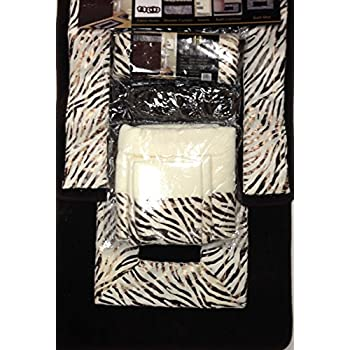 Zebra Chocolate Brown 18 Piece Bathroom Set: 2 Rugs/mats, 1