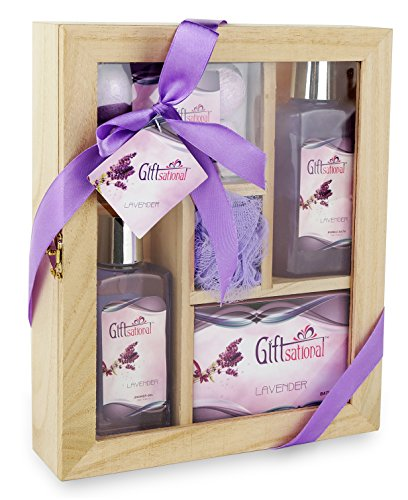 Spa Gift Basket With Sensual Lavender fragrance - Bath set Includes Shower Gel, Bubble Bath, Bath Bombs and More! Great Wedding, Birthday, Anniversary, or Graduation Spa Gift Set for Women and Girls