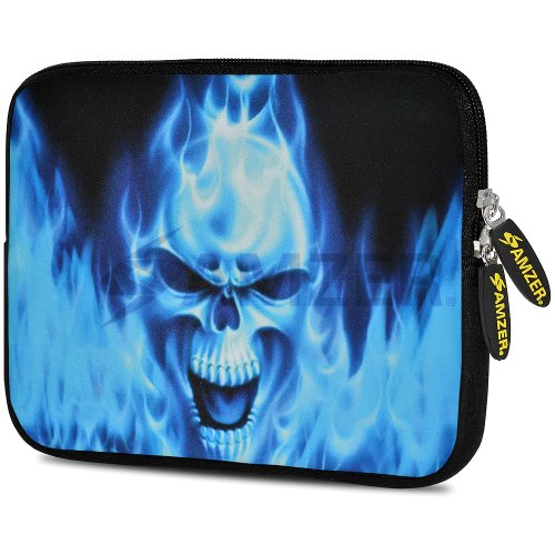 amzer-105-inch-designer-neoprene-sleeve-case-pouch-for-tablet-ebook-and-netbook-blue-skull-amz509510