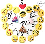 Emoji Keychain Plush Mini Pillow Kids Decoration, Birthday Party Supplies Favor for Girl and Boy, 20 Pack Emoji-Pop Key Chain Pendant, Cute Emoticon Cushion Goody Bag Stuffed Toy, Backpack& Wall Decor