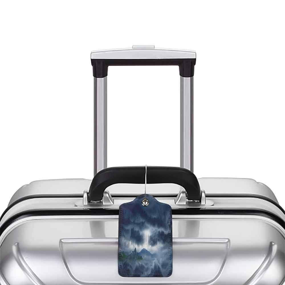 Soft luggage tag Nature Flash in Dark Stormy Sky over Mountains Like Fictional Fantastic Powerful Nature Image Bendable Blue W2.7 x L4.6