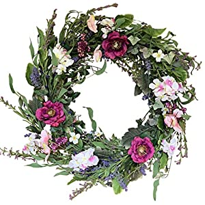 The Wreath Depot Windsor Silk Spring Door Wreath 24 Inch, White Storage Gift Box Included 21