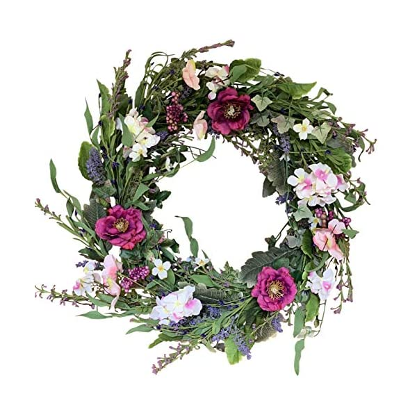 The Wreath Depot Windsor Silk Spring and Summer Door Wreath 24 Inch, White Storage Gift Box Included