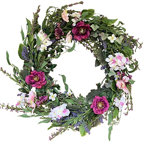 (The Wreath Depot Windsor Silk Spring and Summer Door Wreath 24 Inch, White Storage Gift Box Included)