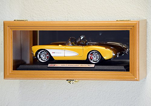 Single 1/18 Scale Diecast Model Car Display Case Cabinet Holder Rack w/98% UV- Lockable with Mirror Back (Oak Finish)