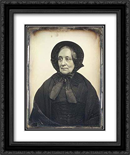 Albert Sands Southworth - 28x36 Black Ornate Frame and Double Matted Museum Art Print - Elderly Woman in Black Cape and Bonnet with Mourning Crape
