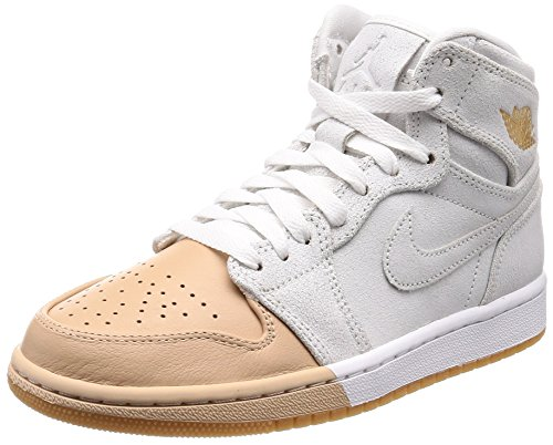 Jordan Nike Women's 1 Retro Hi Premium Basketball Shoe 8 White