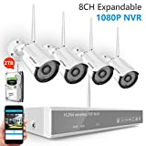 [8CH Expandable]H.265 Security Camera System,Safevant 8CH 1080P NVR Wireless Security Camera System(2TB HDD),4PCS 1080P Indoor&Outdoor IP66 Wireless Security Cameras,Auto Pair,Plug&Play,No Monthly Fee