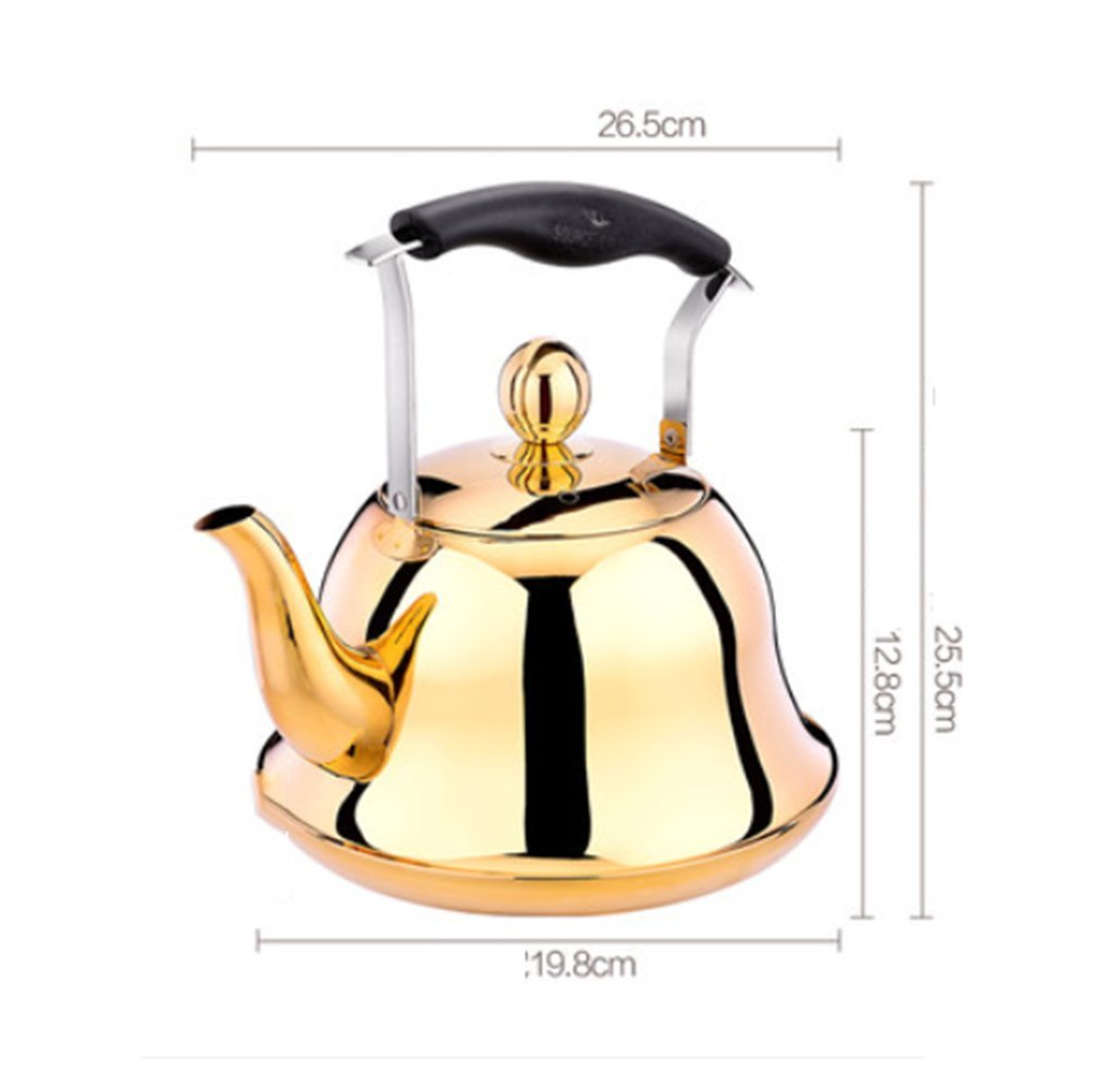 304 Stainless Steel Teapot Coffee Pots Electromagnetic Oven Gas Whistle Kettles Large Capacity 3L,Gold,Silver,Rose Gold SQL
