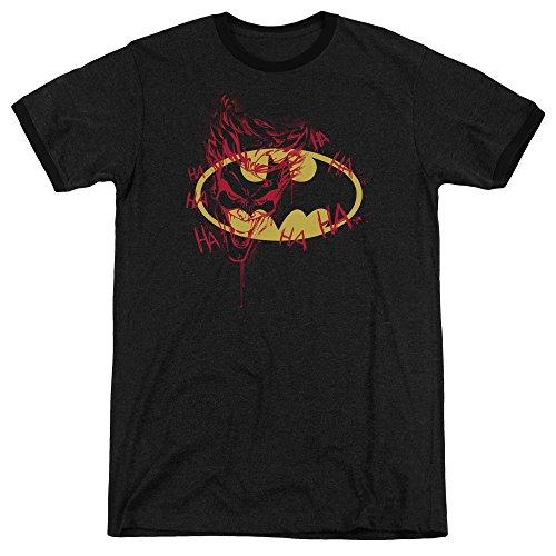 Batman Joker Graffiti Unisex Adult Ringer T Shirt for Men and Women, Small Black