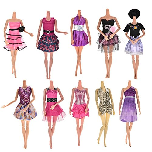 LVHERO Handmade Wedding Dress Party Gown Clothes Outfits with Doll Shoes and Handbag Shoulder Bag for Barbie Doll, Pack of 10