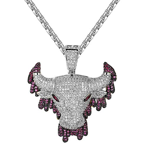 Master Of Bling Hip Hop Purple Dripping Bull Head Animal Iced Out Sport Pendant Steel Box Necklace