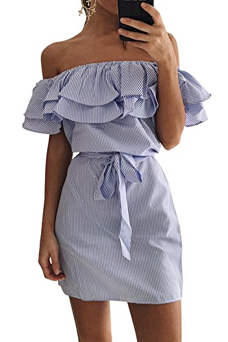Miss Floral - Vestido - Sin mangas - para mujer Azul
