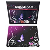 ICOLOR Hot Purple Butterfly Print Waterproof Anti-Slip Mouse Pad Mice Pad Mat Mousepad For Optical Laser Mouse MP-006