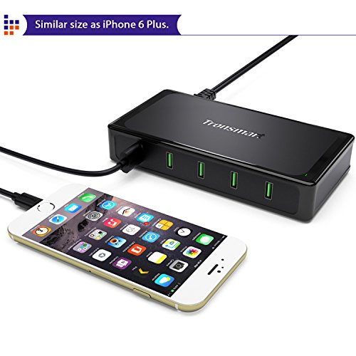 Tronsmart Titan 5-Port USB Charger with 10 Amp Total Output, All 5 Ports Build in Quick Charging - Black