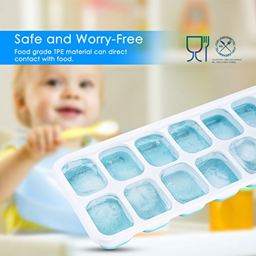 OMorc Ice Cube Trays 4 Pack, Easy-Release Silicone and Flexible 14-Ice Trays with Spill-Resistant Removable Lid, LFGB Certified & BPA Free, Stackable by OMORC (Image #2)