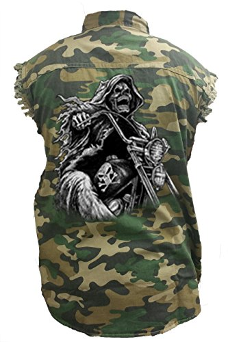 (SHORE TRENDZ Men's Camo Sleeveless Denim Shirt Grim Reaper Biker Death Motorcycle Skeleton Skull Denim Vest:)