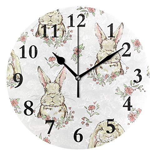 Round Wall Clock Bunny Acrylic Creative Decorative for Living Room/Kitchen/Bedroom/Family