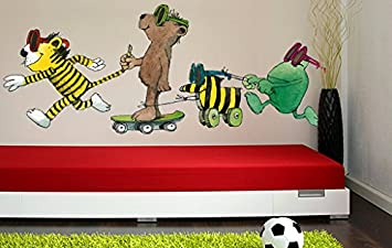Janosch Kinderzimmer | Wandtattoo Janosch Tigerente Tiger Bar Und Frosch 82x31cm