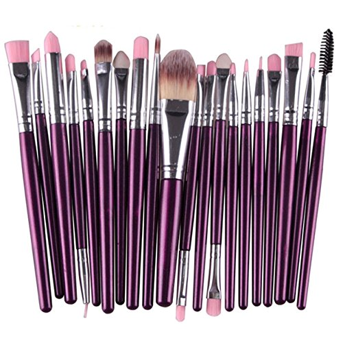 20 Piece Makeup Brushes Set Eyeliner Eyelash Eyeshadow Cosmetic Tool Foundation Natural Beauty Palette Predilection Popular Faced Colorful Rainbow Hair Highlights Glitter Teens Travel Kit, Type-16