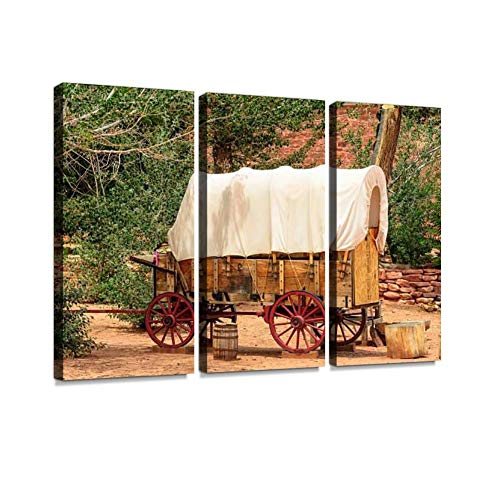 BELISIIS Nice Old Covered Wagon in The Old West, Arizona Wall Artwork Exclusive Photography Vintage Abstract Paintings Print on Canvas Home Decor Wall Art 3 Panels Framed Ready to Hang