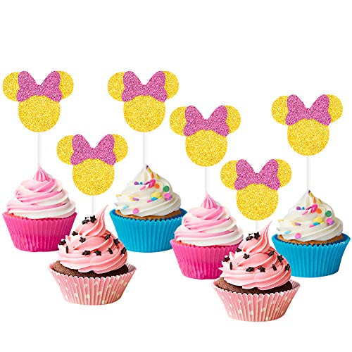24 Pack Minnie Mouse Cupcake Topper for Kids Birthday Party Supplies]()