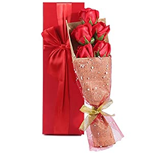 RED Roses Bouquet Gift Box Elegantly Wrapped of 5 Scented Roses in a Charming Gift Box Best Gift for Anniversary Birthday Mothers and Valentines Day 106