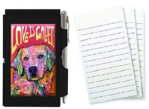 Wellspring Metal Flip Note Case With Pen and 3 Pack Refill, Bundle (Love is Golden) -