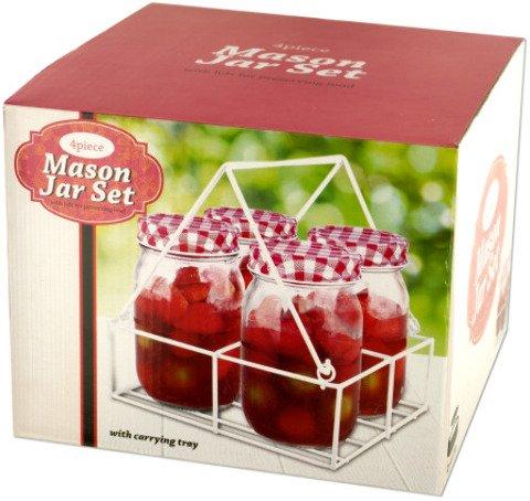 Kole OL134 Glass Mason Jar Set with Carrying Tray, Regular