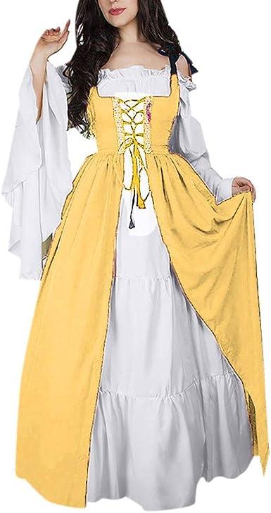Tebaise Dames Collier Carre Fourni Taille Robe Medievale Renaissance Vintage En Deux Pieces Robe De Princesse Cosplay Amazon Fr Vetements Et Accessoires