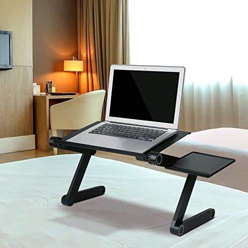 Homfa Portable Adjustable Laptop Desk Vented Aluminum Table/Stand Ergonormic Mount Lap Tray Stand Up/Sitting with Mouse Pad Side for Home Office - Black by Homfa
