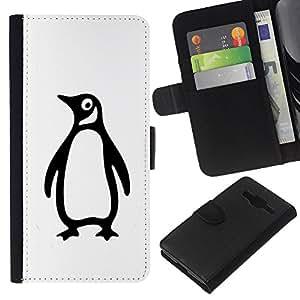 Be-Star la tarjeta de Crédito Slots PU Funda de cuero Monedero caso cubierta de piel Samsung Galaxy Core Prime ( Penguin Goofy Minimalist White Black )