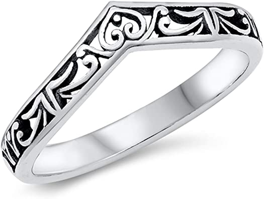 witchcraft jewelry gift V chevron sterling silver ring