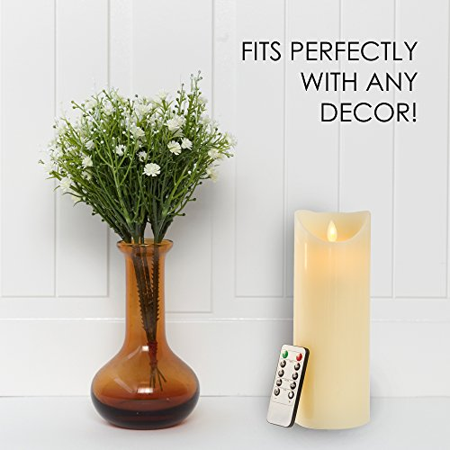Gideon 9 Inch Flameless LED Candle - Real Wax & Real Flickering Candle Motion - with Multi-Function Remote (On/Off, Timer, Dimmer) - Vanilla Scented, Ivory by Gideon (Image #5)