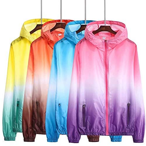Estiva Uv Unisex lila Giacca Protezione Esterna A Leggera Cappuccio Lunga Sportiva Vento Pink Abbigliamento Con wXffRq