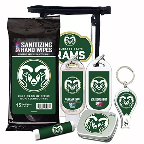 Spf 30 Wipes - Colorado State Rams 6-Piece Fan Kit with Decorative Mint Tin, Nail Clippers, Hand Sanitizer, SPF 15 Lip Balm, SPF 30 Sunscreen, Sanitizer Wipes. NCAA Gifts for Men and Women
