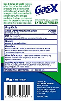 Gas-X Extra strength cherry Chewable Tablet for Fast Gas Relief, 72 Count